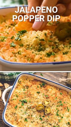 Jalapeno Popper Dip makes the easiest party dip ever! A cheese bottom loaded with jalapenos and topped with a buttery breadcrumb coating. Grab your chips, crackers or vegetables and dip into this delicious appetizer recipe. Perfect for holiday parties! Best Appetizer Recipes, Yummy Appetizers, Appetizers For Party, Mexican Food Recipes, Easy Appetizer Dips, Recipes For Appetizers, Dip Recipes For Parties, Easy Party Dips, Mexican Food Appetizers