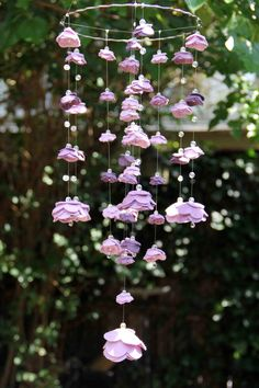 Shades of Purple Medium Felt and Crystal Rose Mobile. $75.00, via Etsy.