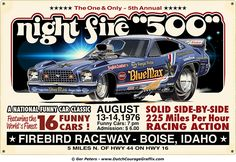 """""""Night Fire 500"""" 1976 Raymond Beadle Blue Max Ford Mustang funny car faux vintage sign #Raymond #Beadle #Blue #Max #Ford #Mustang #funny #car"""