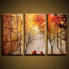 Free shipping Hand-painted wall art  Abstract  Window Home decoration Oil Painting on canvas 3 pcs/set wood framed K-965