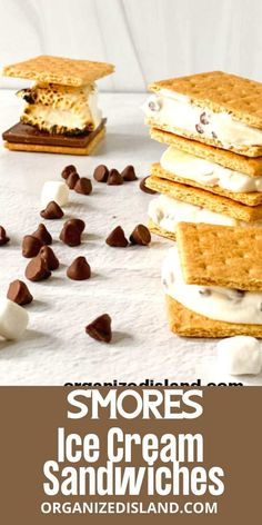 This S'mores Ice cream recipe is delicious on its own or in S'mores Ice Cream Sandwiches. the perfect dessert for summer! Frozen Desserts, Summer Desserts, Frozen Treats, Easy Desserts, Delicious Desserts, Healthy Desserts, Summer Recipes, Yummy Treats, Best Dessert Recipes