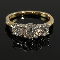 Lady's 1.25ct Diamond 14k Yellow Gold Trio Engagement Ring