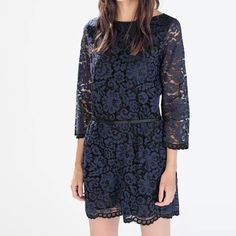 Zara Blue Lace Romper Dress Jumpsuit Shorts XS Zara Lace Romper in XS, Blue & Black Lace, Pockets, Hidden Side Zipper, Rear Slit Keyhole w/ Button Closure, 3/4 Sleeves, Flattering fit, New without tags! MISSING REMOVABLE BLACK BELT*  Fabrication: Shell-56% Polyamide, 44% Cotton Lining- 100% Polyester Zara Dresses