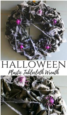 Plastic Tablecloth Wreath Halloween Plastic Tablecloth Wreath made with dollar store supplies. Make it for about 5 dollars.Halloween Plastic Tablecloth Wreath made with dollar store supplies. Make it for about 5 dollars. Casa Halloween, Halloween Projects, Holidays Halloween, Halloween Treats, Halloween Party, Halloween Supplies, Halloween Sewing, Modern Halloween, Diy Projects