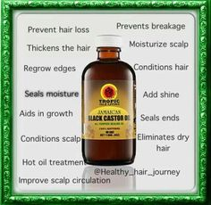 Jamaican black castor oil:Acts as a humectant which results in hair appearing thicker during the process of becoming thicker.