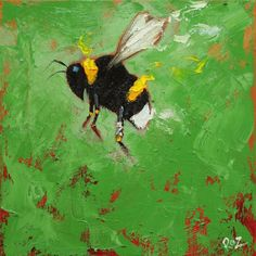 Bee painting 274 12x12 inch insect animal portrait original oil painting by Roz