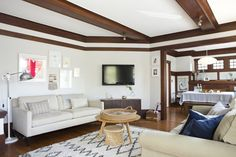 Love how they brightened up the dark wood in this space. Living With Kids: Shira Gill on Design Mom.