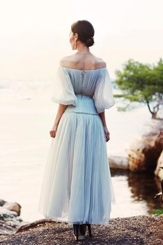 White Off Shoulder Puff Sleeve Chic Women Sheer Mesh Maxi Dress News Fashion, Beauty And Fashion, Travel Fashion, Style Fashion, Dress Up, Fancy Dress, Tulle Dress, Satin Dresses, Chiffon Dress