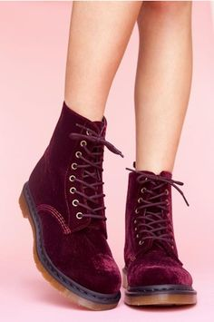 Dr Martens Velvet Red Size 5.5 From Nasty Gal