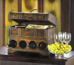Western Wine Bottle Rack Chest Cabinet Wood Stagecoach Trunk with Storage on Top  $34.00 at CritterCreekRanch