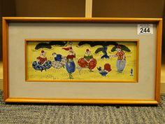 244) A colourful contemporary hand painted framed enamel porcelain plaque Est. £20-£30