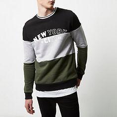 Dark colour block 'New York' sweatshirt Polo T Shirts, Boys Shirts, New York Sweatshirt, Kids Vest, Casual Wear For Men, Boys Wear, Sweater Design, Mens Sweatshirts, Men Sweater