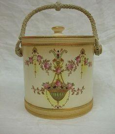Vintage Crown Devon Fieldings Co Etna Cracker Biscuit Jar Rose Swags .