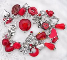 Valentine's Day Love Cluster Charm Bracelet / Hearts, Cupid, Wings, Lips / Red, Silver, Gold, Pewter/ Gift For Her