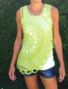 Circle crochet bohemian boho blouse by JezebelAdrian on Etsy