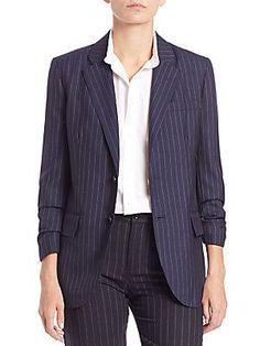 Polo Ralph Lauren Pinstriped Wool Jacket - Navy Pinstripe - Size 2
