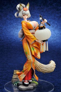 """Depicted based on the illustration by George Kamitani, Kongiku of Muramasa: The Demon Blade has been recreated in 1/8th scale with a height of 9.4""""! This is the second run of this gorgeous Alter figure, so if you missed out when it was first released, now is your chance! In addition to the breathtaking colors and detail, she features an especially cool feature: using a coin battery, her lantern li... #figure"""