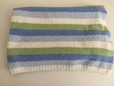 Carters Just One Year Blue Green White Stripes Chenille Baby Blanket Lovey