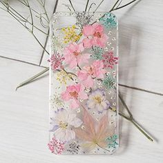 Pink And Purple Larkspur And Colorful Lavender Handmade Real Dried Pressed Flowers Phone Case