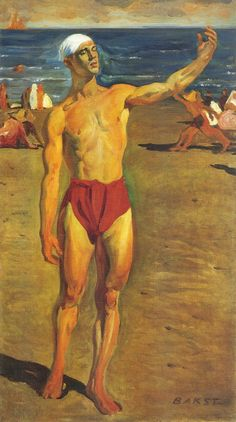 Nijinsky painted by Léon Bakst at the Lido in Venice, 1910.