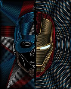 CIVIL WAR Captain America / Iron Man Art Print by Nathan Owens