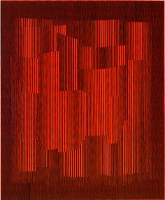 Julian Stanczak | Artwork – 1960's, Modulation in Red,1965 Acrylic on Canvas