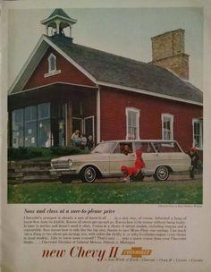 1962 Chevy II Nova 4 Door Station Wagon Ad - Vintage Magazine Print - School House Decor by IowaFerrisFinds on Etsy