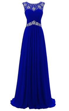 A Line Scoop Neck Chiffon Tulle Floor Length Beading Royal Blue Prom Dress