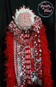 """Mega Homecoming mum  with 10"""" flower & monogram - Tomball High School  We are located in Cypress, TX We ship nationwide.  832-231-8628"""