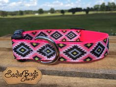 Pink Aztec Tribal dog collar - geometric
