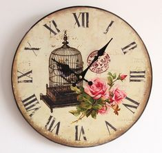 Home Decor – Shabby Chic Decorating Ideas on a Small Budget – Shabby Chic Talk Shabby Chic Clock, Shabby Chic Homes, Shabby Chic Style, Shabby Chic Decor, Decoupage, Online Clock, Clock Face Printable, Etiquette Vintage, Diy Clock