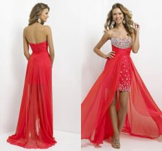 New Arrival Floor-length Red Color Sweetheart Neckline Crystal Beading Ruched Short Front Long Back Prom Dress 2014