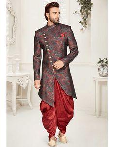 Slate Grey and Maroon Designer Indo Western