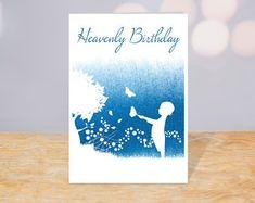 Happy Heavenly Birthday fall waterproof memorial card for | Etsy Happy Heavenly Birthday Dad, Birthday In Heaven, Sons Birthday, Birthday Cards, Happy Birthday, Missing Mom In Heaven, Memorial Cards, Pretty Cards, Custom Cards