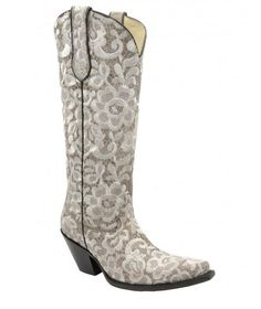 Corral Women's Bone Tall Floral Lace Embroidery Cowgirl Boots - G1128