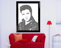 "Typography Portrait Wall Art Elvis Presley Portrait Printable of ""Elvis 01"" Wall Decor Typographic Home Decor Printable Digital Download by DigitalPrintStore on Etsy #printable #gifts #vintage #retro #art #printable #portrait #digital #portrait #walldecor #homedecor #digitalprint #typographicart #elvis #presley #typographywallart #typographyprint #typographyposter #typographyportrait #printablewallart"