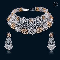 Golden Jewelry, Pink Jewelry, India Jewelry, Metal Jewelry, Jewellery Designs, Necklace Designs, Diamond Jewellery, Diamond Earrings, Hazoorilal Jewellers