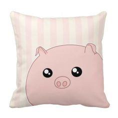 Cute Kawaii chubby pink pig Throw Pillow 238874fa537