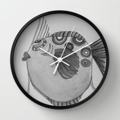 Free Worldwide Shipping Ends Tonight at Midnight PDT! 	 LARRY B/W Wall Clock by Caribbean Critters Co. - $30.00