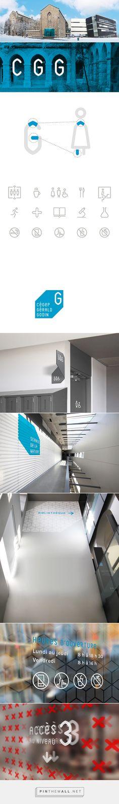 Cégep Gérald-Godin — Signage & Wayfinding System on Behance Bélanger Branding Design Ltée. Creative direction & Wayfinding strategy : Ali Syed Art direction & Graphic design : Anaïs Garençon