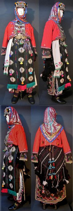 The traditional bridal costume from the Karakeçeli (Yörük) villages of the Keles district (south of Bursa).  Village (rural) style, ca. mid-20th century.  (Kavak Costume Collection - Antwerpen/Belgium).