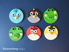 Angry birds cupcake toppers #angrybirds #cupcakes #fondant