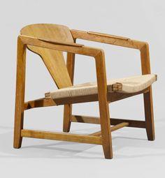 Bjørn Engø; Oak, Plywood and Paper Cord Lounge Chair for Gustav Bahus, 1948.