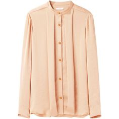 Tome Pleated Crinkle Shirt (1,650 MXN) ❤ liked on Polyvore featuring tops, blouses, shirts, blusas, camisas, beige shirt, polyester shirt, long sleeve blouse, beige blouse and loose blouse