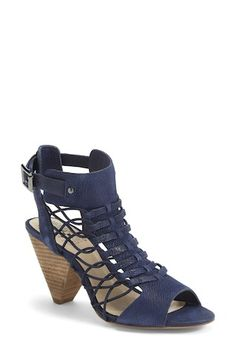Vince Camuto 'Evel' Leather Sandal (Women) (Nordstrom Exclusive) available at Tie Up Heels, Blue Heels, Navy Sandals, Leather Sandals, Walk In My Shoes, Me Too Shoes, Beautiful Shoes, Vince Camuto, Ankle Strap