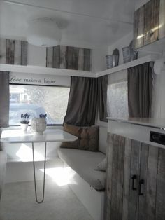When you love all about traveling, then you should have a caravan to move from one place to another place easily. Caravan with complete interior design in it is not something new anymore but not every Rv Remodel, Camper Table, Remodel, Remodeled Campers, Camper Interior Design, Home, Interior
