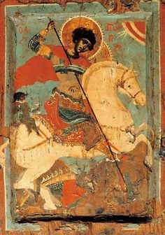 Icon of St George the dragon-slayer on horseback, from a Macedonian workshop. The male figure seated behind the saddle recalls the saint's miraculous rescue of a youth from Mytilene. Second half of c. Byzantine Icons, Byzantine Art, Religious Icons, Religious Art, Patron Saint Of England, Saint George And The Dragon, Google Art Project, Art Through The Ages, Best Icons