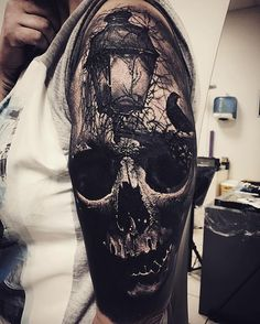 An eye peeks through a dark skull, by Sandry Riffard. (via IG—audeladureeltattoobysandry) Evil Tattoos, Creepy Tattoos, Badass Tattoos, Leg Tattoos, Body Art Tattoos, Tattoos For Guys, Skull Sleeve Tattoos, Skeleton Tattoos, Best Sleeve Tattoos