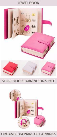 Your favorite pairs of earrings are now instantly visible and accessible page after page in this stylish Jewelry Book! Clever and easy way to organize and enjoy up to 84 of your favorite pairs of earrings without having to search deep in your drawers. The inner panels of the Jewel Book organizer and travel case have space and tabs to accommodate any style and size of earrings. Comes in Hot Pink, Purple and Red.
