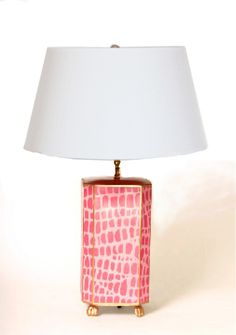 Lighting. Table lamp. Pink Croc Lamp with White or Black Shade